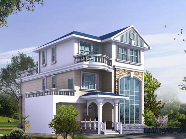 3層農村自建房別墅設計圖紙帶閣樓和車庫(包含CAD+效果圖)