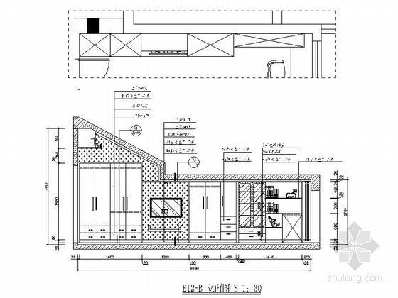 [绍兴]黄金地带时尚现代跃层公寓装修设计施工图女儿房立面图