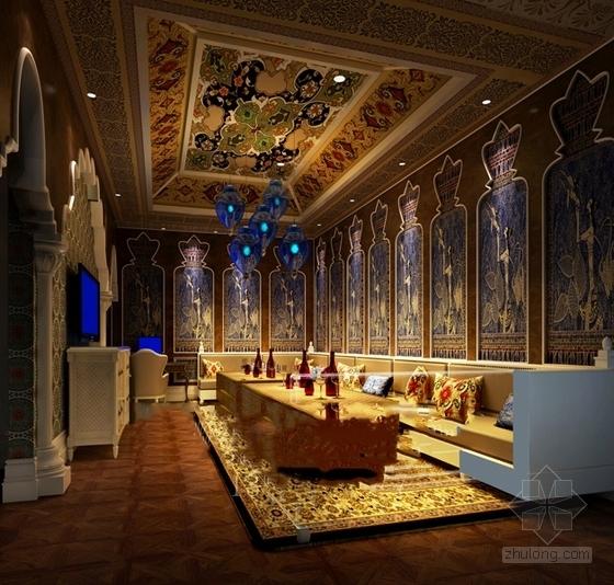 [浙江]高档商务欧式风格娱乐会所室内装修施工图(含效果)包厢效果图