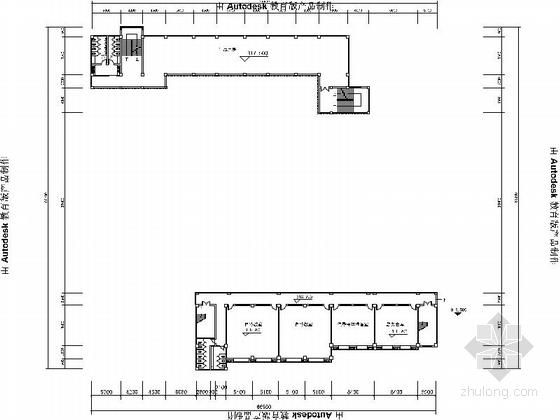 5层现代风格小学教学楼建筑平面图