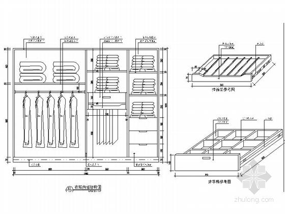 [杭州]现代简约三居室样板间装修图(含效果)衣柜大样图