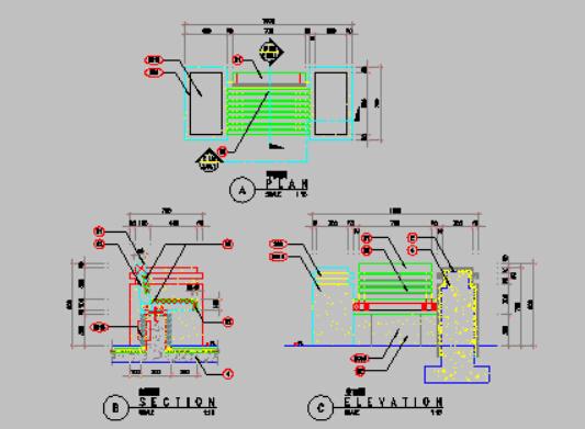 三个圆凳树池施工图分享给大家!