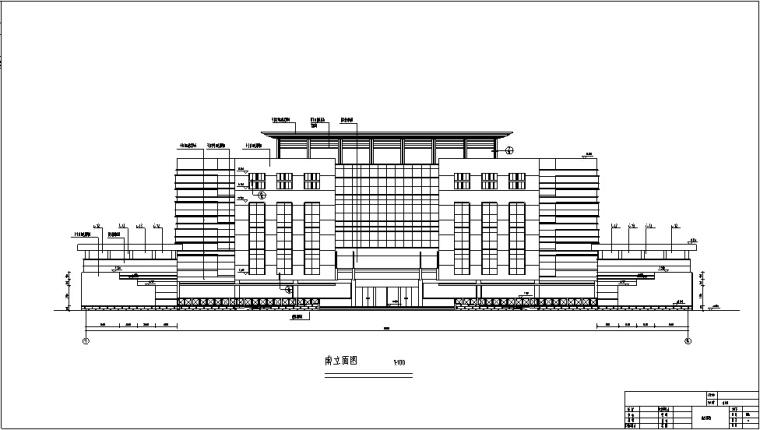 5套商务办公楼建筑设计施工图CAD-新中式多层办公楼建筑设计立面图