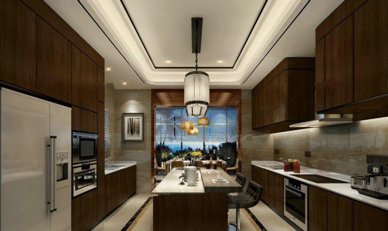 木质开放式厨房餐厅3D模型