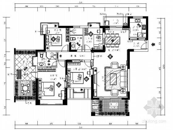 现代风四室两厅双卫装修图(含效果)