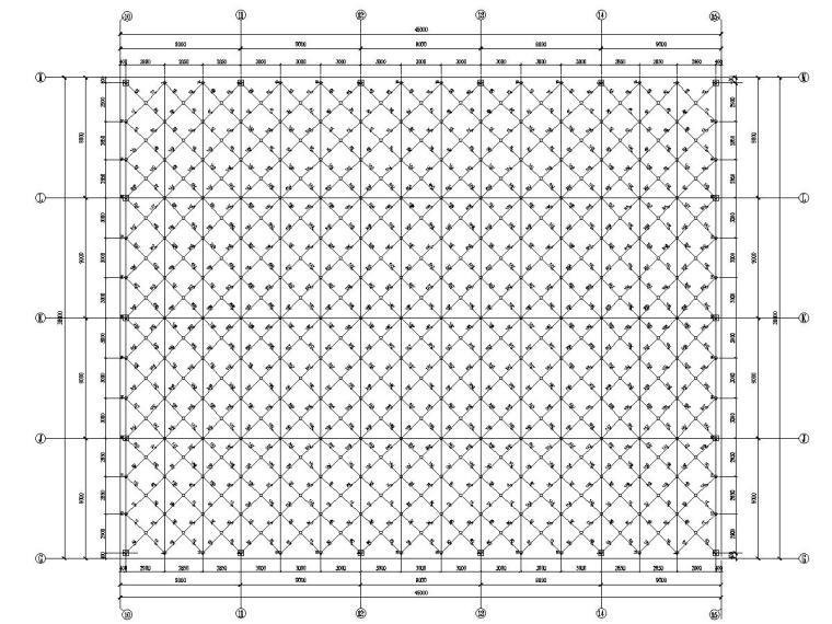 [吉林]正放四角锥网架形式保龄球屋面结构施工图