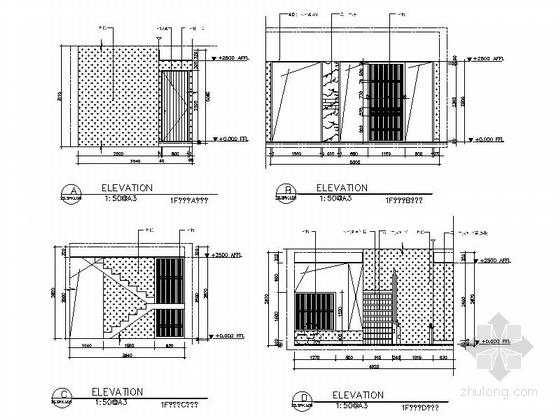 [江苏]260㎡新中式风格三层别墅室内装修施工图(含高清效果图)-[江苏]260㎡新中式风格三层别墅室内装修施工图楼梯间立面图