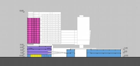 [广东]长廊并排式商业中心建筑设计方案文本-长廊并排式商业中心建筑设计剖面图