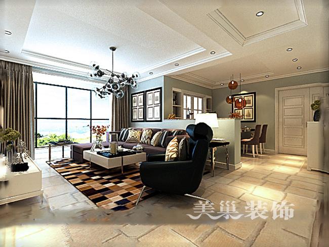 中海锦苑129平三室两厅装修效果图唯美轻美式-中海锦苑129平美式三房装修入第1张图片