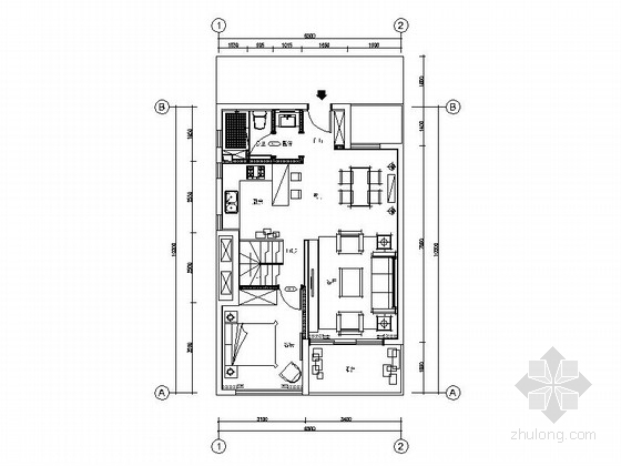 [上海]SOHO风格两层别墅样板房室内装修施工图(含高清效果图)