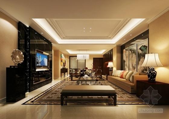 [福州]现代风格130平三居室装修图(含效果)客厅效果图