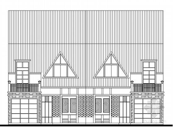 某二层双拼度假别墅建筑方案图(256平方米)