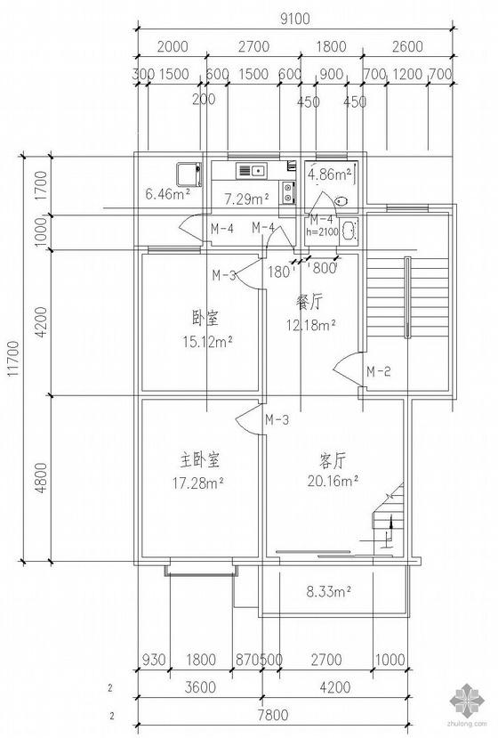 板式多层一梯二户三室三厅二卫有跃层户型图(135/135)