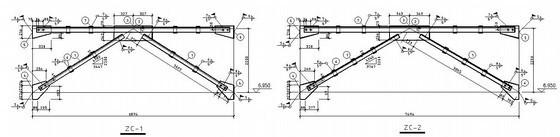 [沈阳]36米跨门式刚架带10吨吊车厂房结构设计图
