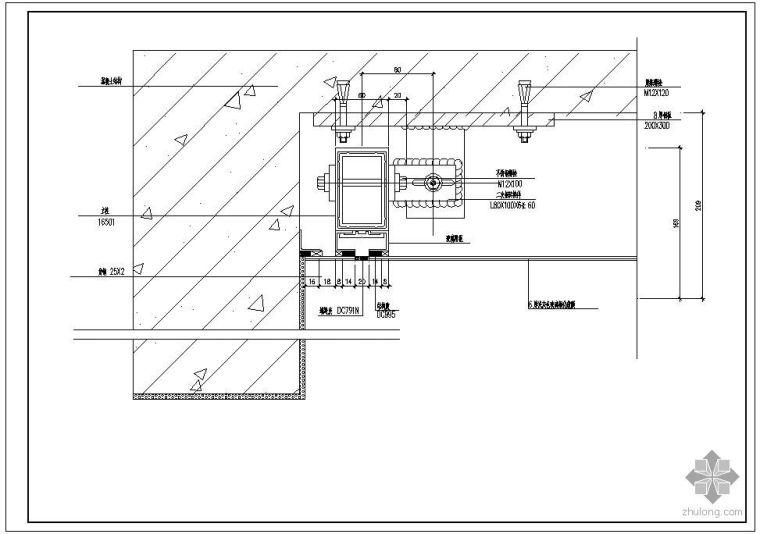 某玻璃幕墙及铝合金型材节点构造详图(八)