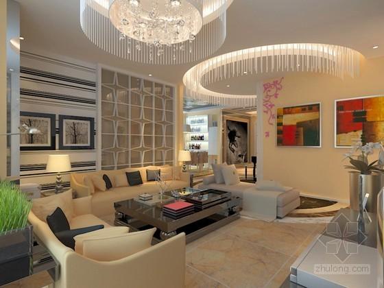 现代简约时尚风格客厅和过廊3d模型下载