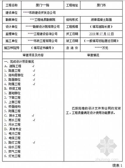 [厦门]市政工程竣工验收报告(表)填写范例