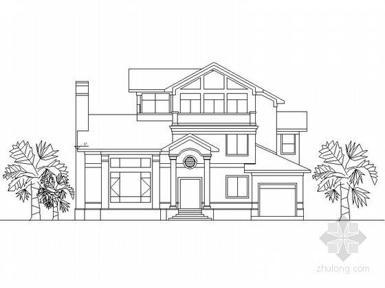 某三层欧式别墅建筑方案图(367平方米、南入口)