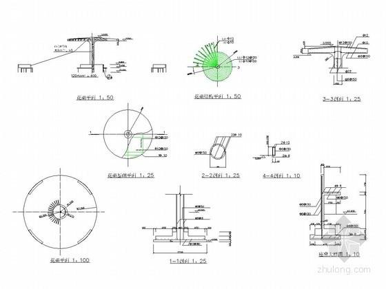 圆形单柱花架施工详图