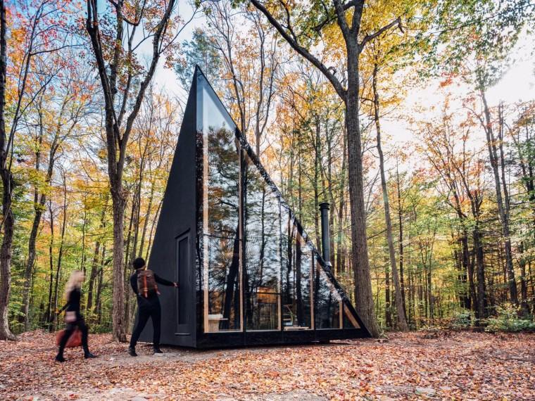 美国三角形模块化的黑色微型住宅