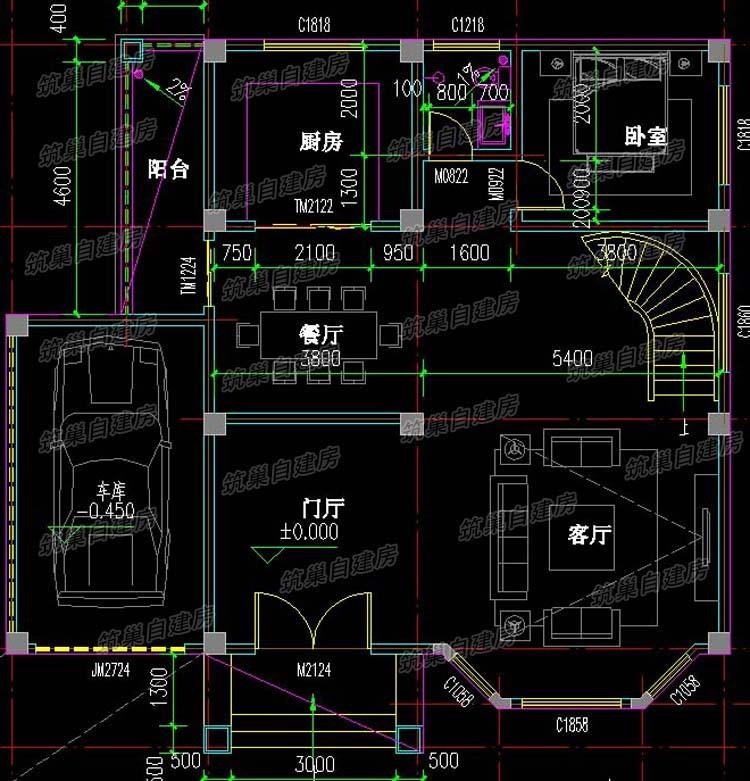 13x11三层农村独栋别墅设计图-1.1