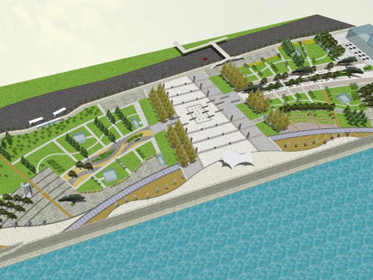 现代滨水休闲流线公园景观SU模型