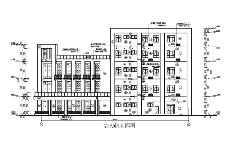 四层框架结构食堂全套施工图(建筑结构水电暖)-建筑立面图3