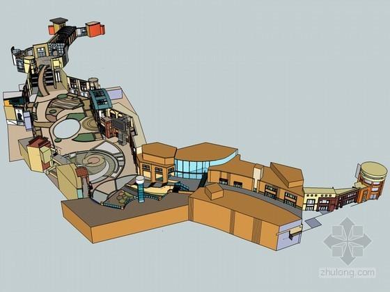商业街道SketchUp模型下载