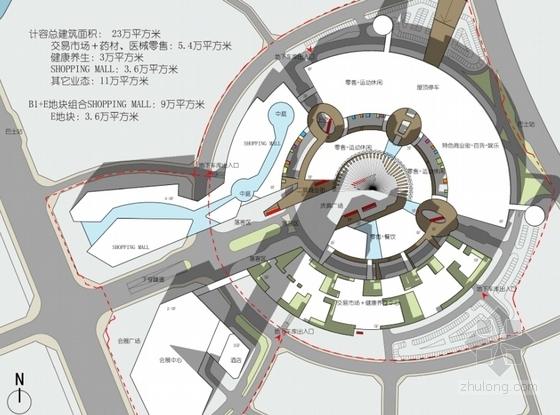 [福建]多层双圆环性商业建筑设计方案文本(知名设计院)-多层双圆环性商业建筑设计总平面图