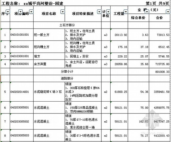 广州大型水利河流整治工程清单投标报价(2011年)