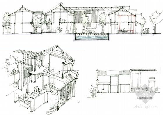 [浙江]水乡古镇国家旅游景区中式风格酒店设计方案图沿街酒吧设计手稿图