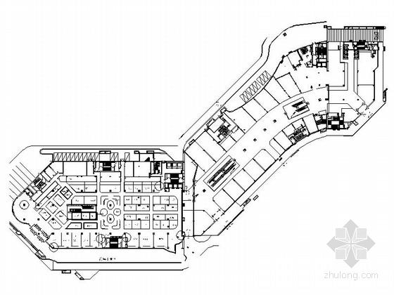[北京]4层CBD商务区购物中心建筑各层平面图