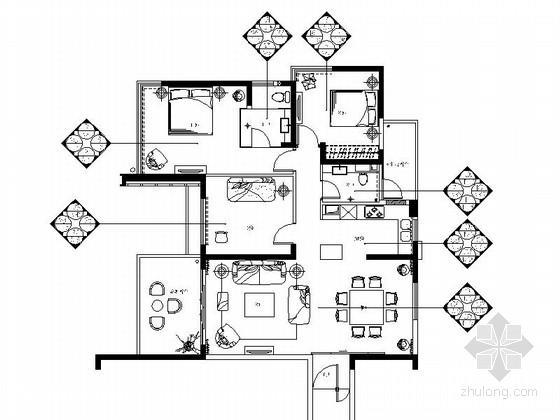 [三亚]现代风格度假公寓小居室室内空间装修施工图