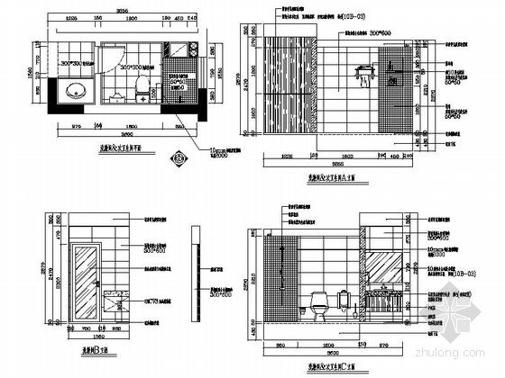 [湖南]温馨现代130平四居室室内装修施工图卫生间立面图