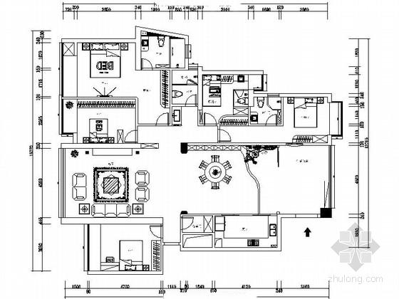 [厦门]简欧五居室室内设计CAD施工图(含效果)