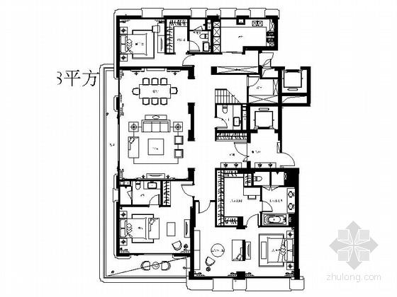 [上海]高档复式样板房CAD室内装修施工图(含效果)
