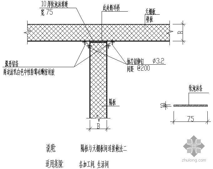 某隔板与天棚板间连接做法节点构造详图(二)