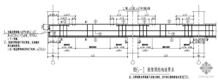 某框架梁的节点构造详图要求