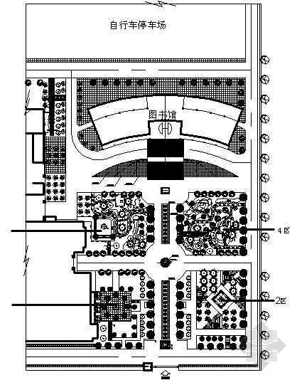 中学图书馆前绿地景观施工图全套