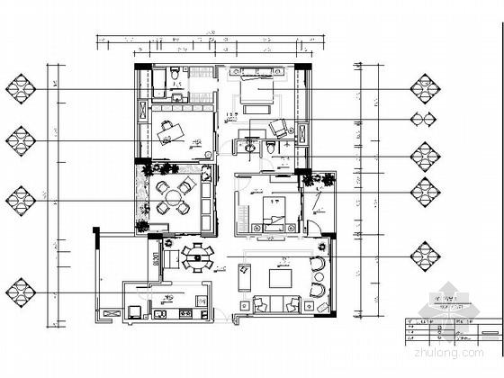 [重庆]时尚现代风格三居室室内装修施工图