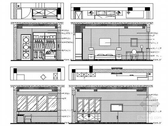 现代中式风格别墅儿童房立面图