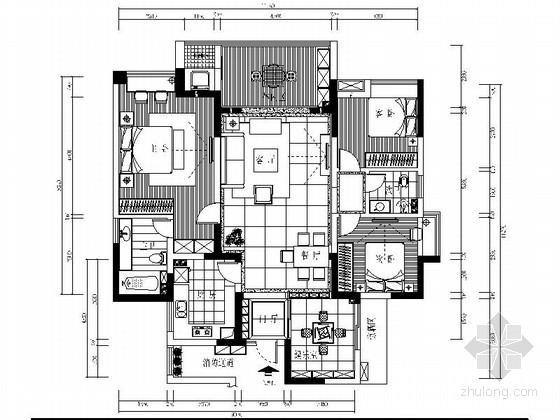 [上海]现代简约3居室室内设计施工图