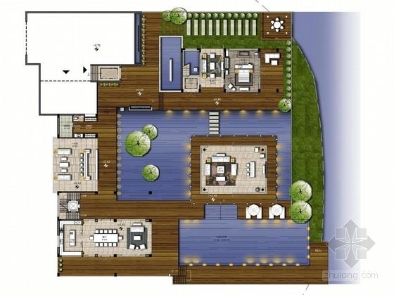 [海南]滨海休闲度假新中式三层别墅室内设计方案图