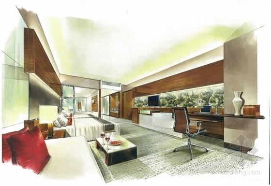 [广东]全球连锁豪华欧式风格商务酒店设计方案餐厅效果图