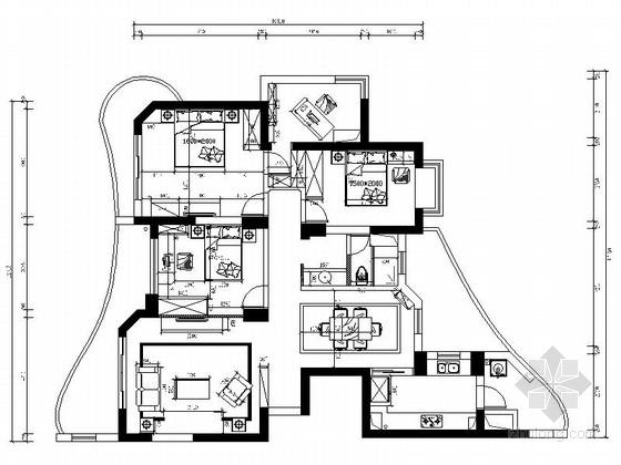 [山东]欧式舒适3居室室内设计全套CAD施工图