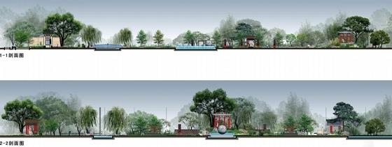 [山西]现代中式皇家园林风格住宅景观设计方案(独家首发)-皇家园林风格住宅景观剖面图
