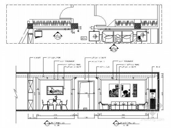 现代时尚三室两厅设计装修图客厅餐厅立面图