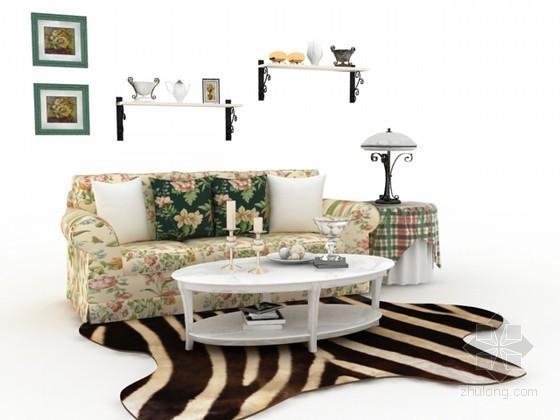 田园风格多人沙发3d模型下载