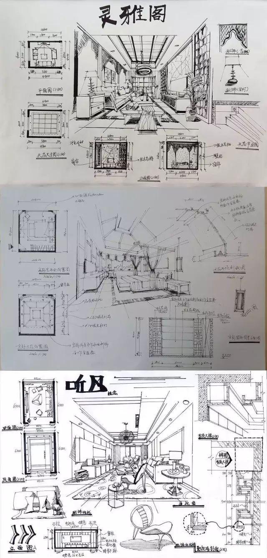 室内手绘 室内设计手绘马克笔上色快题分析图解_51