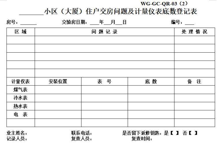 住户交房问题及计量仪表底数登记表
